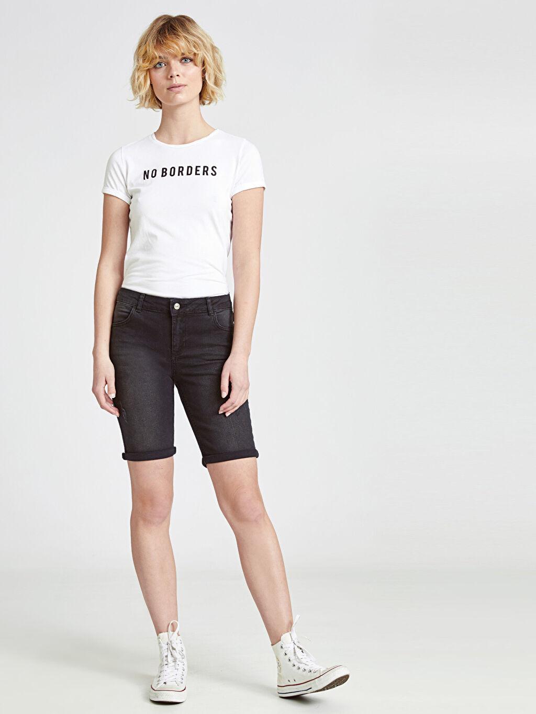 %99 Pamuk %1 Elastane Jean Şort Normal Bel Mini Skinny Jean Şort