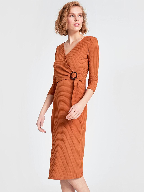 %96 Polyester %4 Elastan Uzun Günlük Kaşkorse Uzun Kol Düz Elbise Kruvaze Yaka Detaylı Jakarlı Kalem Elbise