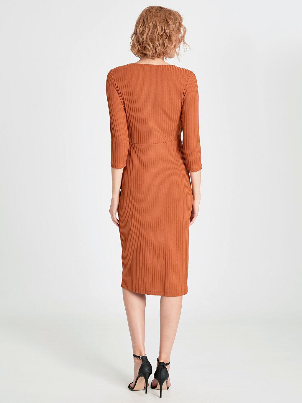 %96 Polyester %4 Elastan Kruvaze Yaka Detaylı Jakarlı Kalem Elbise