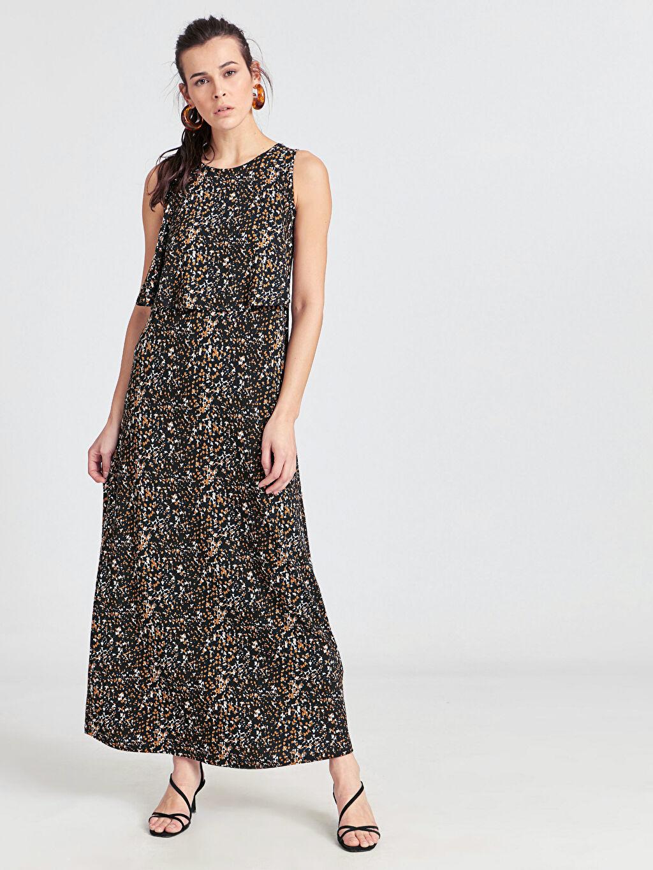 Siyah Desenli Salaş Viskon Elbise 9SM925Z8 LC Waikiki