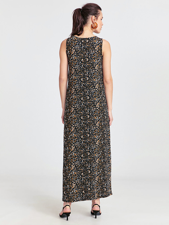 %97 Viskon %3 Elastan Uzun A Kesim Süprem Elbise Kolsuz Ofis/Klasik Standart Baskılı Astarsız Desenli Salaş Viskon Elbise
