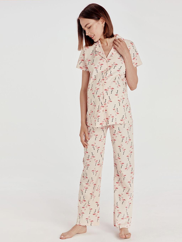 Pembe Desenli Pamuklu Hamile Pijama Takımı 9SN558Z8 LC Waikiki