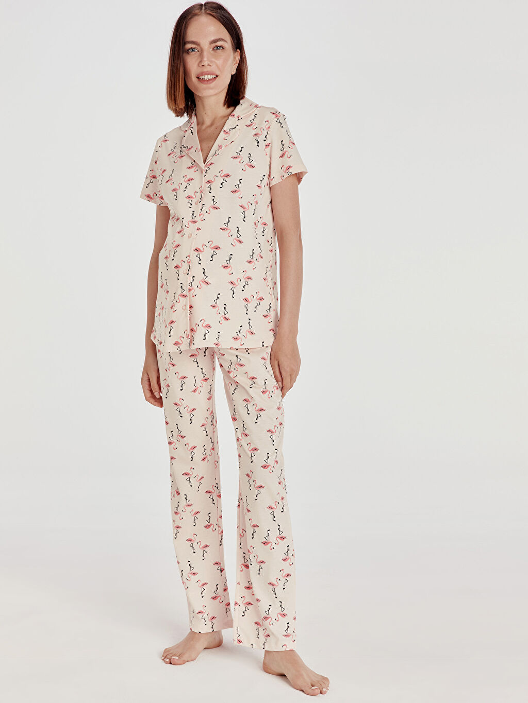 %100 Pamuk İç Giyim Desenli Pamuklu Hamile Pijama Takımı