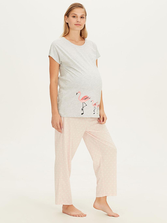 Pembe Flamingo Desenli Hamile Pijama Takımı 9SN561Z8 LC Waikiki
