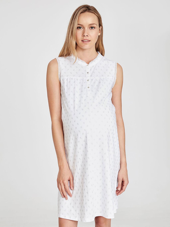 %100 Pamuk İç Giyim Desenli Pamuklu Hamile Gecelik