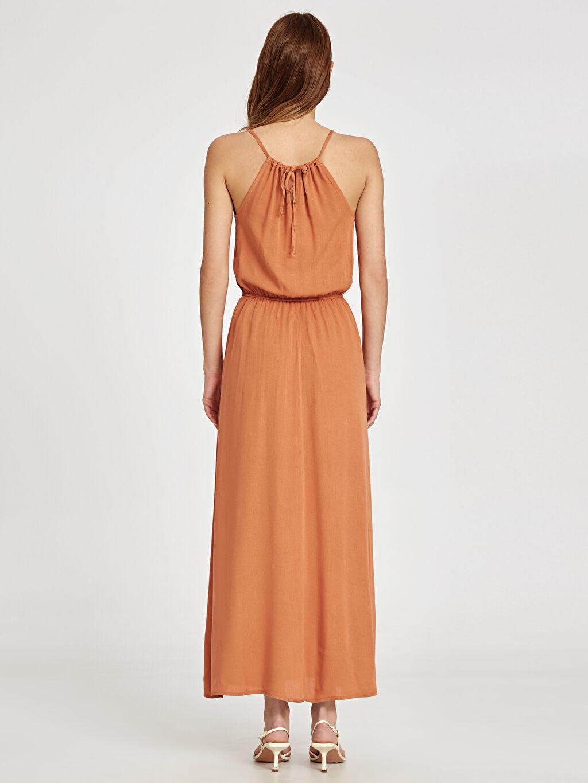 Kadın Beli Lastikli Uzun Viskon Elbise