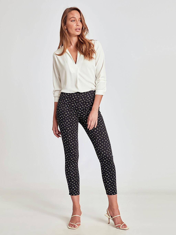 %66 Pamuk %31 Polyester %3 Elastan Yüksek Bel Esnek Dar Dar Paça Pantolon Desenli Bilek Boy Skinny Pantolon