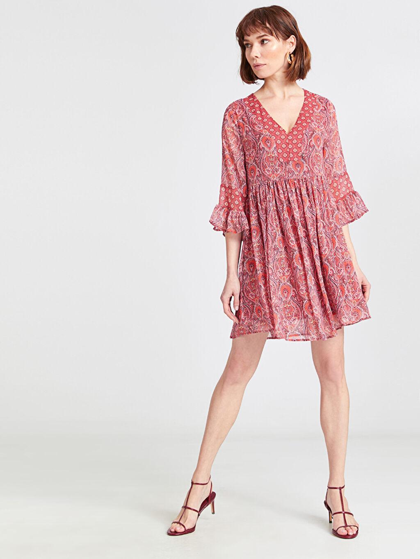%100 Polyester %100 Polyester Mini Baskılı Kısa Kol Desenli Şifon Elbise