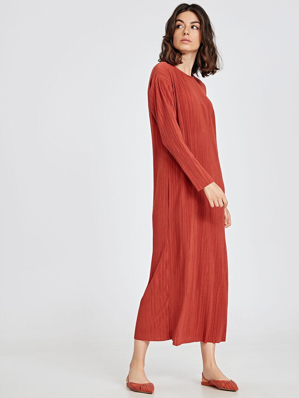 %100 Polyester Uzun Düz Uzun Kol Uzun Pilili Elbise