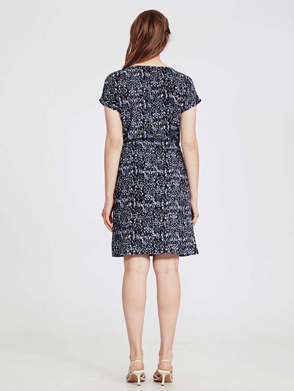 Kadın Beli Lastikli Viskon Elbise