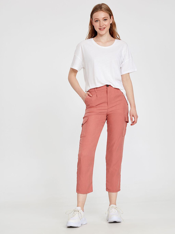 %26 Poliester %74 Lyocell Pantolon Düz Standart Normal Bel Uzun Beş Cep Kargo Pantolon