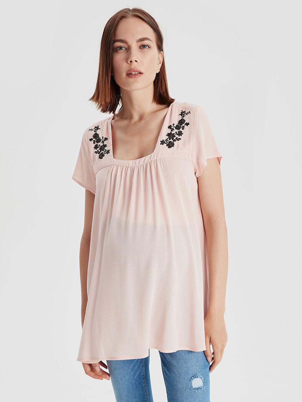 %100 Viskoz Gömlek, Bluz ve Tunik İşlemeli Viskon Hamile Bluz
