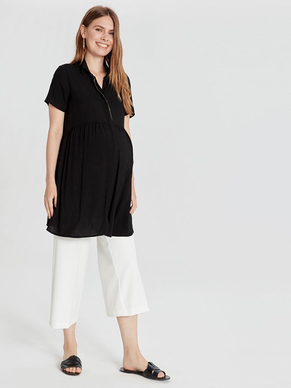 %100 Viskoz Günlük Kısa Kol Düz Tunik Robalı Gömlek Yaka Yaka Detaylı Viskon Hamile Tunik