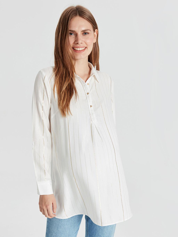 %98 Viskoz %2 Metalik iplik Günlük Bluz Uzun Kol A Kesim Çizgili Gömlek Yaka Işıltı Detaylı Hamile Bluz