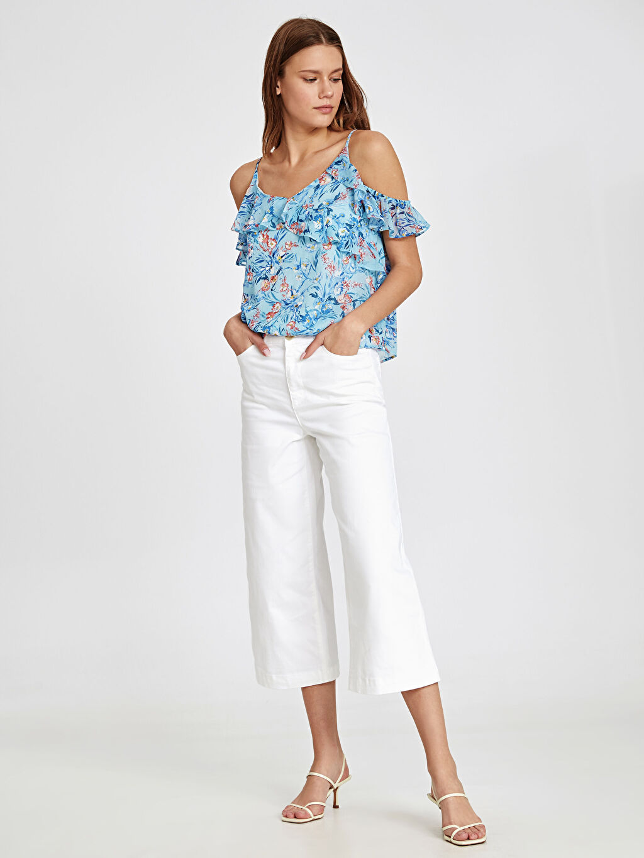 %97 Pamuk %3 Elastan Normal Bel Pantolon Geniş Paça Capri