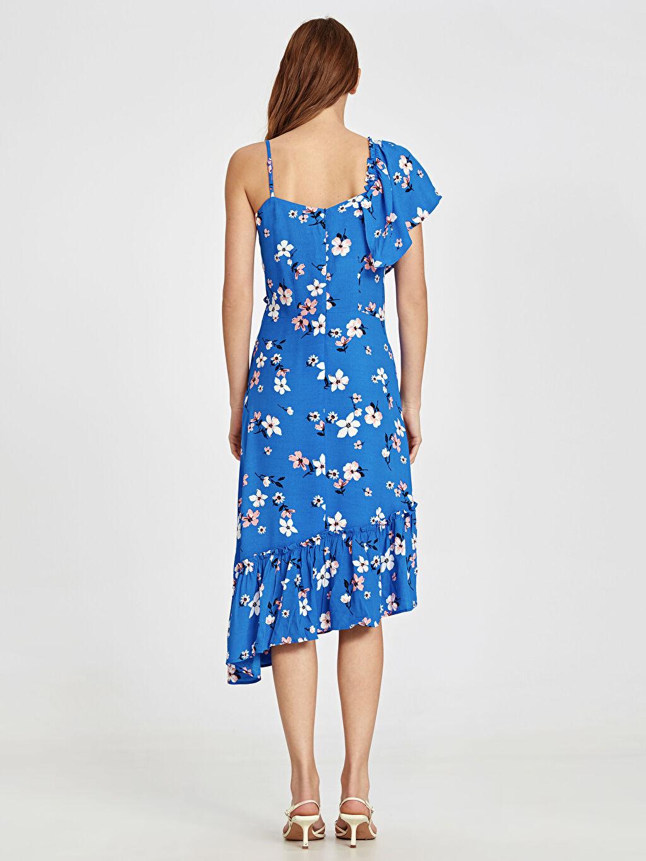 Kadın Fırfır Detaylı Desenli Asimetrik Viskon Elbise