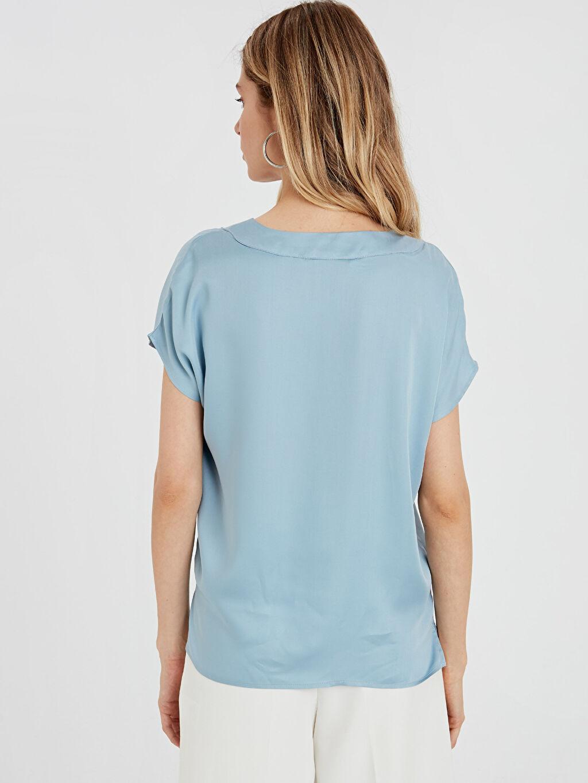 %100 Viskoz V Yaka Kısa Kol Bluz Düz Standart Diğer Saten Standart V Yaka Viskon Bluz