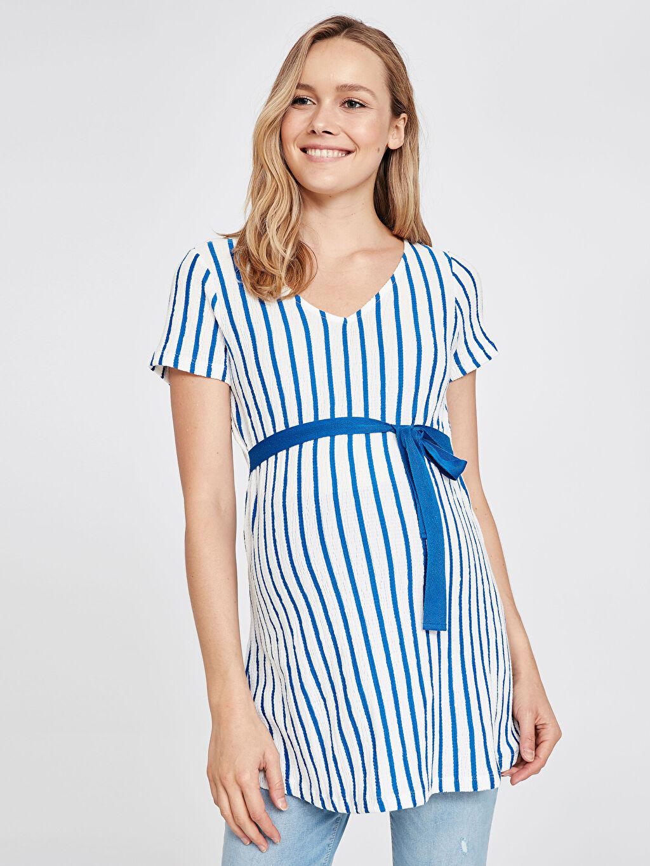%92 Polyester %1 Elastan %7 Viskoz Gömlek, Bluz ve Tunik Beli Bağlama Detaylı Çizgili Hamile Tunik
