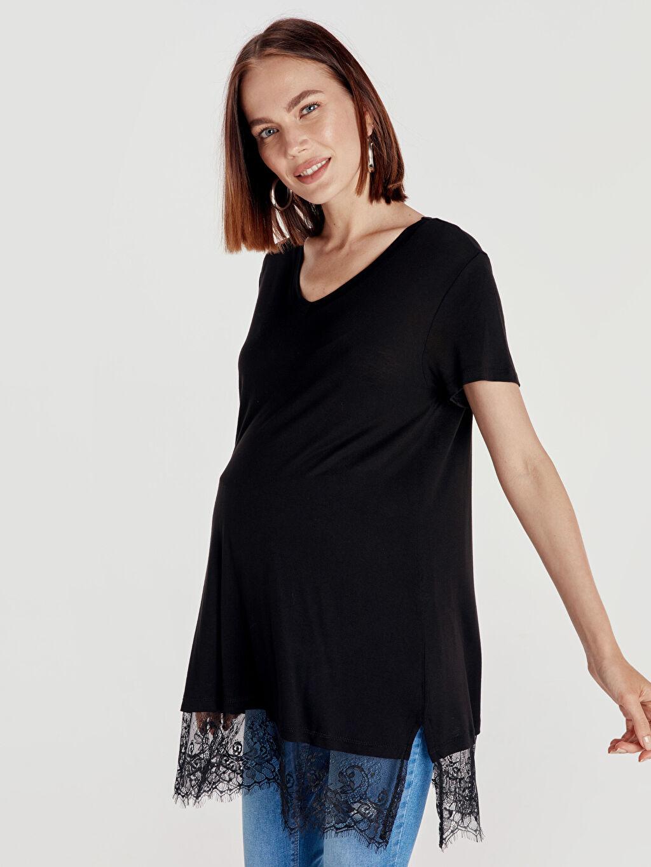 %100 Viskoz A Kesim Tişört Günlük V Yaka Kısa Kol Düz Dantel Detaylı Viskon Hamile Bluz