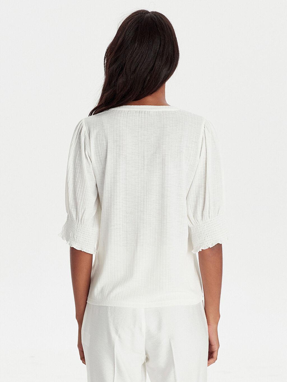Kadın Balon Kol Esnek Tişört