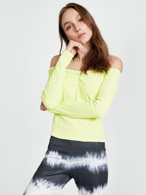 %48 Pamuk %49 Polyester %3 Elastan Standart Tişört Kaşkorse Uzun Kol Düz Standart Diğer Omuzları Açık Esnek Pamuklu Tişört
