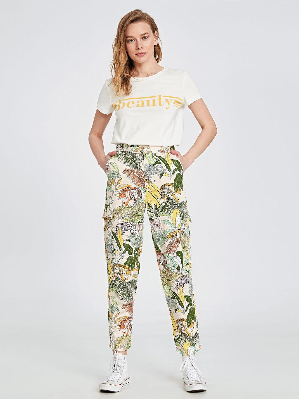 %100 Viskoz Düz Standart Uzun Beş Cep Pantolon Yüksek Bel Desenli Viskon Kargo Pantolon