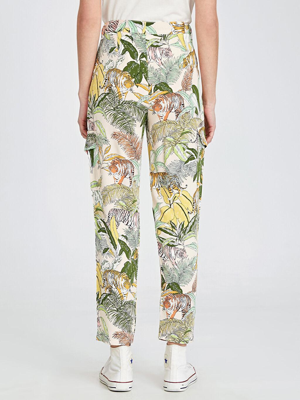 Kadın Desenli Viskon Kargo Pantolon