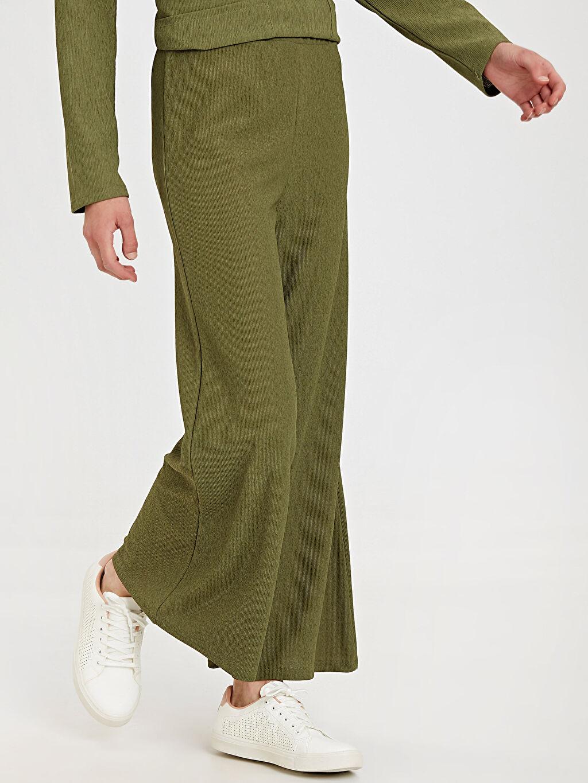 %96 Polyester %4 Elastan Pantolon Normal Bel Bol Geniş Paça Lastikli Bel Geniş Paça Palazzo Pantolon