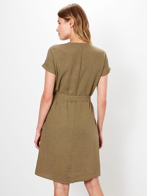 Kadın V Yaka Pamuklu Kuşaklı Elbise