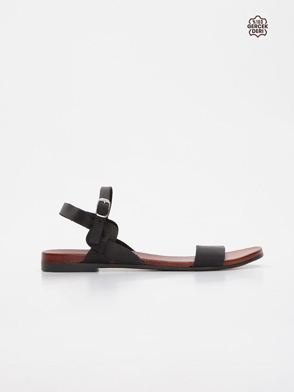 Siyah Kadın Deri Sandalet 9SS997Z8 LC Waikiki