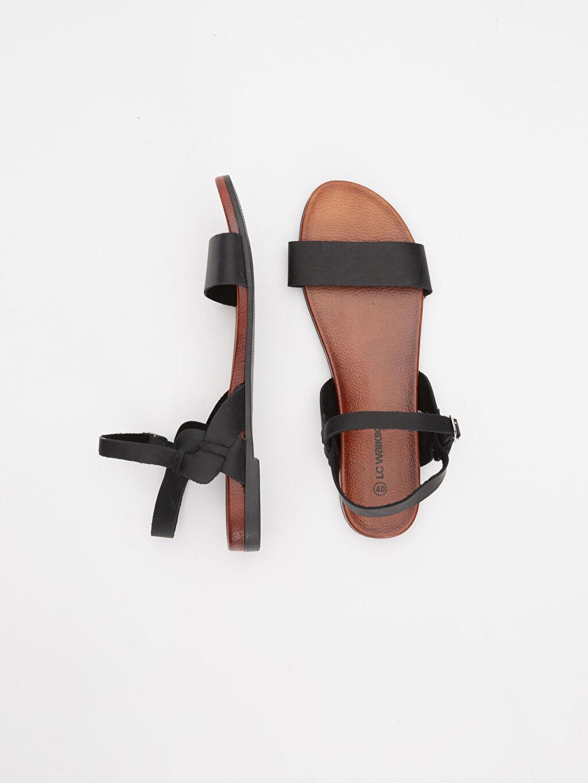 %100 Deri Diğer malzeme (poliüretan) Diğer Sandalet Düz 3 cm Kısa Kadın Deri Sandalet