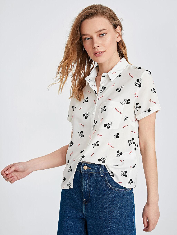 %100 Viskoz Kısa Kol Standart Düğmeli Gömlek Yaka Gömlek Düz Mickey Mouse Baskılı Viskon Gömlek