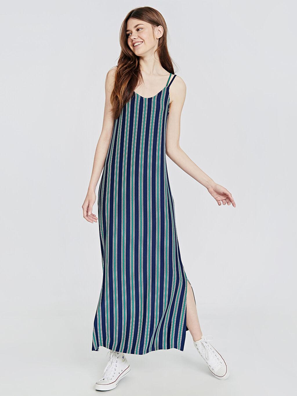 %97 Viskon %3 Elastan Uzun Çizgili Kolsuz Casual Çizgili Askılı Viskon Elbise