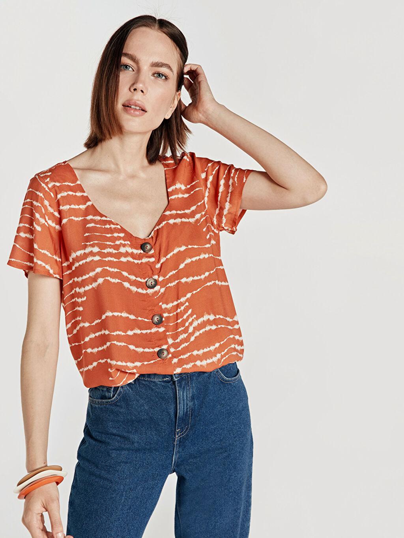 %100 Viskoz Baskılı Krinkle Kısa Kol Gömlek Kare Yaka Uzun Pat Standart Gömlek Elbise Desenli Viskon Gömlek