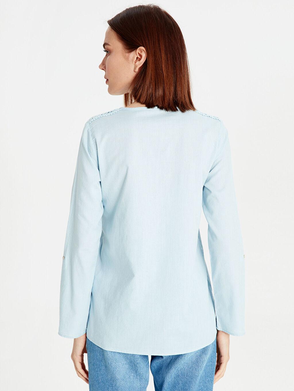 %100 Pamuk Standart Patsız Bluz Uzun Kol Düz Bluzan Dantelli Pamuklu Bluz