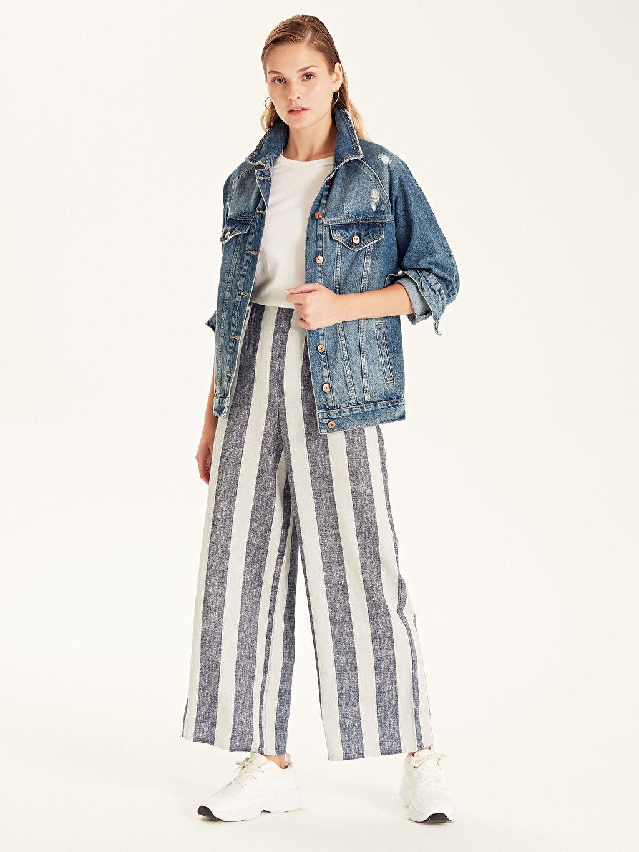 %70 Viskon %30 Keten Çizgili Yüksek Bel Bol Uzun Pantolon Geniş Paça Keten Beli Lastikli Çizgili Palazzo Pantolon