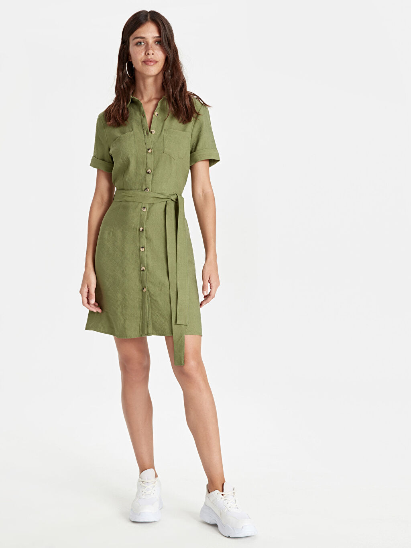 %15 Polyester %85 Viskon Diz Üstü Kısa Kol Kuşaklı Gömlek Elbise