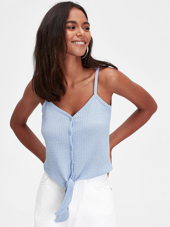 Mavi Beli Bağlama Detaylı Askılı Bluz 9SU655Z8 LC Waikiki
