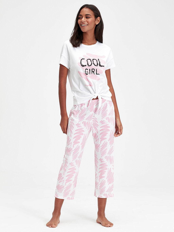 Beyaz Baskılı Pamuklu Pijama Takımı 9SU781Z8 LC Waikiki