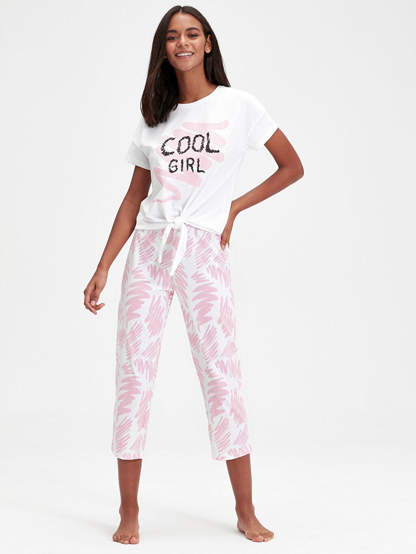 %100 Pamuk Standart Pijama Takım Süprem Baskılı Pamuklu Pijama Takımı