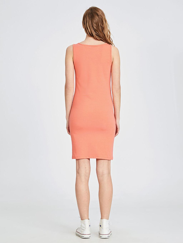 Kadın Kare Yaka Pamuklu Esnek Elbise