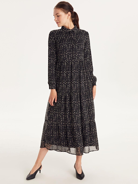 %100 Polyester %100 Polyester Uzun Kol Ofis/Klasik Baskılı Şifon Maksi Elbise Çiçek Desenli Şifon Elbise