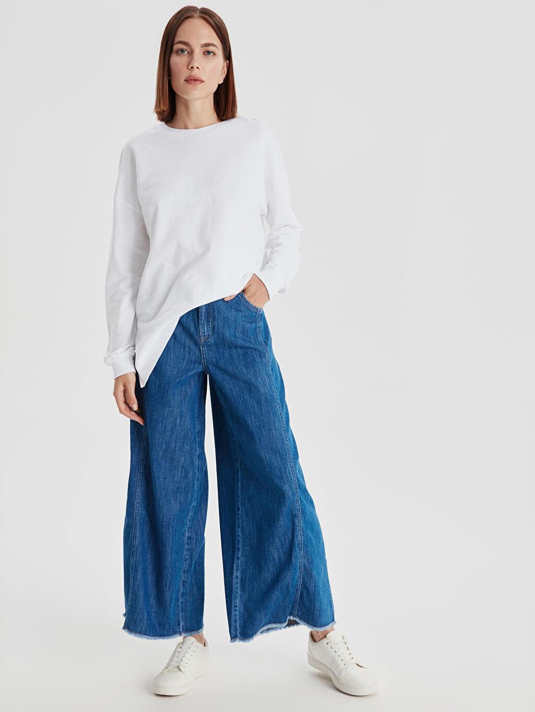%100 Pamuk Bol Normal Bel Jean Bilek Boy Geniş Paça Jean Pantolon