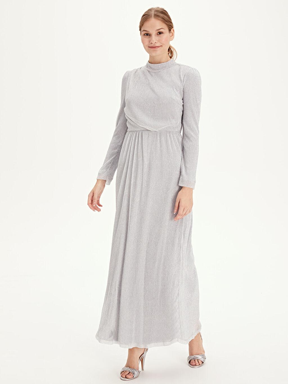 %60 Polyester %40 Metalik iplik %100 Polyester Uzun Baskılı Uzun Kol Abiye Işıltılı Uzun Şifon Abiye Elbise