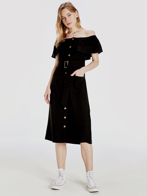 %14 Polyester %86 Viskon Midi Günlük Kısa Kol Keten Düz Elbise Açık Omuz Omuzları Açık Kuşaklı Viskon Elbise