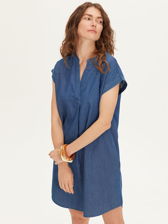 Kadın Düz Kesim Jean Elbise