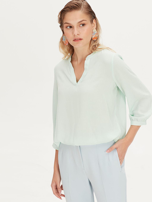 %100 Viskoz Standart Krinkle 3/4 Boy Patsız Bluz Düz Bluzan Düz Viskon Bluz