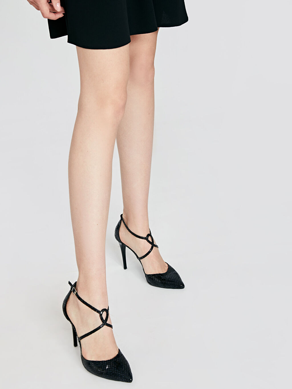 Siyah Kadın Çapraz Bantlı Stiletto Ayakkabı 9SY581Z8 LC Waikiki