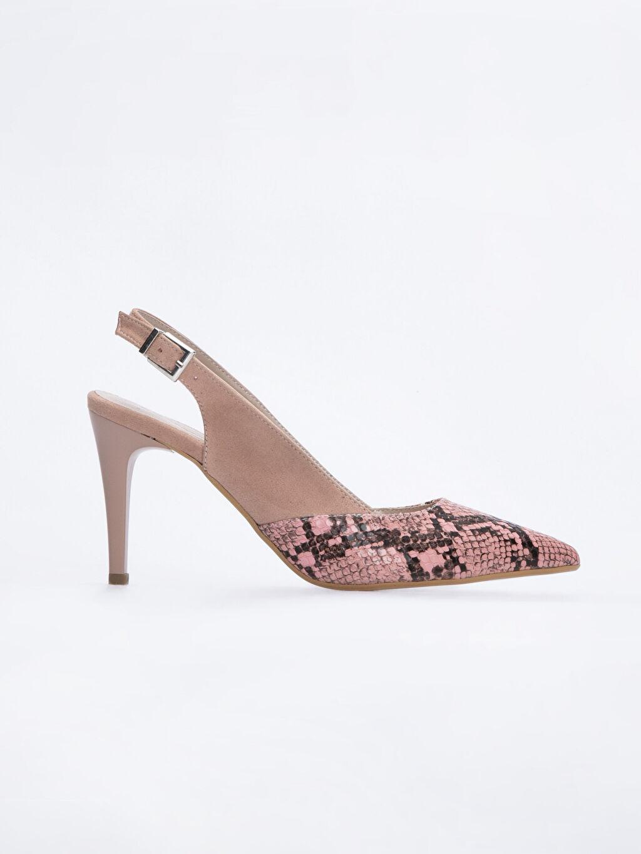 Kırmızı Kadın Yılan Derisi Görünümlü Topuklu Ayakkabı 9SY632Z8 LC Waikiki