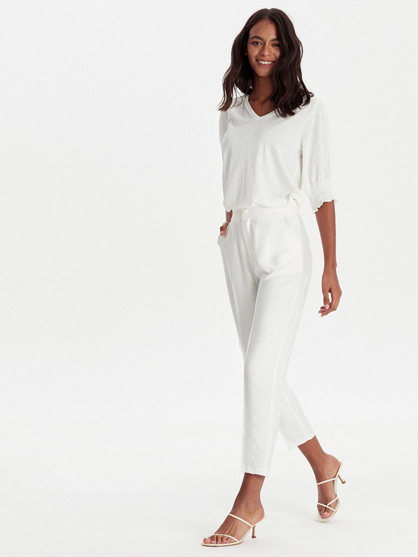 Beyaz Bilek Boy Esnek Krep Pantolon 9SA954Z8 LC Waikiki